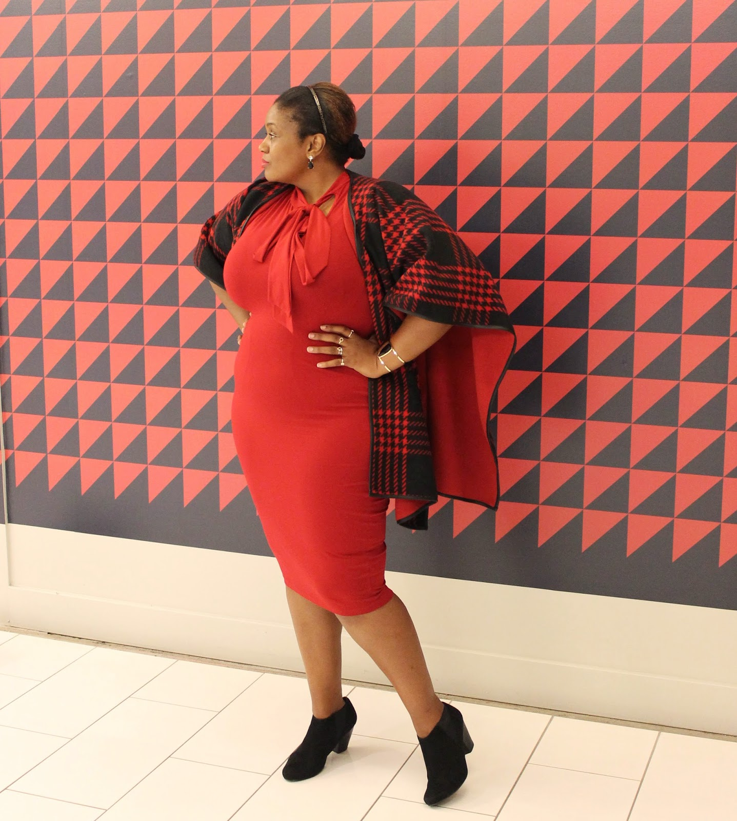 What I Wore Plaid Cape Red Pussy Bow Bodycon Dress Curvatude