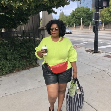 {What I Wore} Neon + Faux Leather