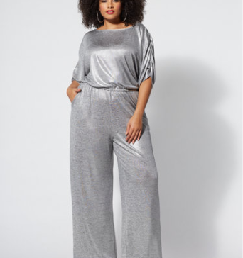 Plus Size {Fashion} Pick of the Day: Metallic Foil Jumpsuit #PlusSizePick